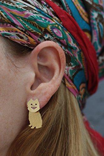 Pomeranian Dog Ear Jacket Earrings, Pom Pom Jewelry, Dog Lovers Gift (Poms Silhouette)