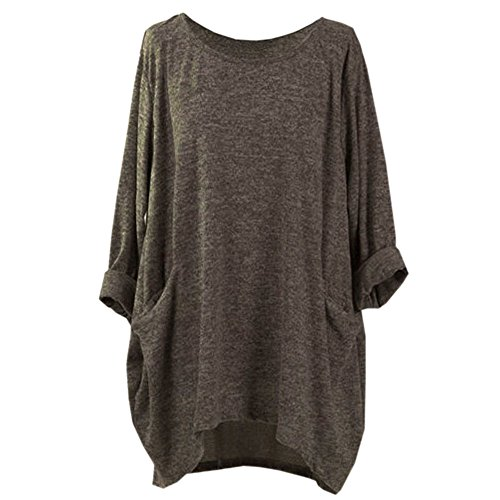 iHPH7 Fashion Womens Long Sleeve O Neck Pocket T Shirts Loose Casual Blouses Brown