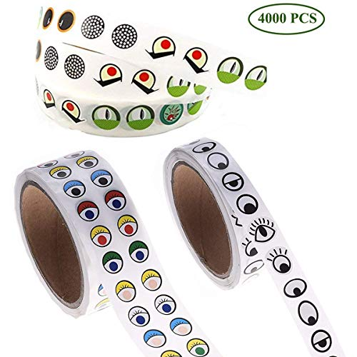 Fumark 3rolls Assorted 4000pcs Eye Stickers for Children School Classroom Crafts Projects, Cute Colorful Eyes Self Adhesive Stickers for Handmade Crafts, Toys and Home Decoration -