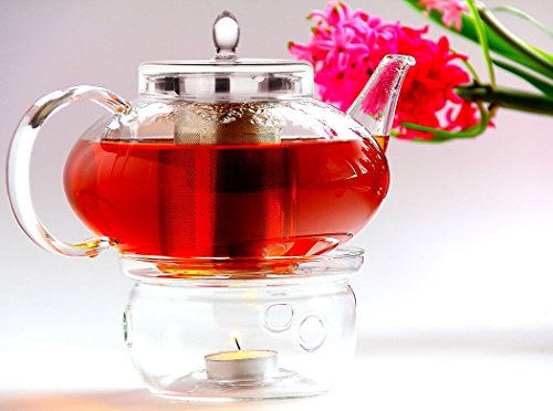 Glass Teapot Harmony, 42oz/1242ml with Tea Warmer Cozy Lead Free Special Glass No Drip by Tea Beyond (Glass Teapot Tea Light)