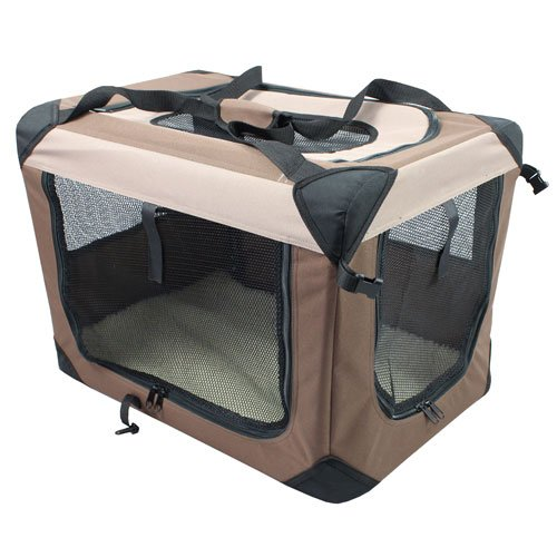 Iconic Pet Multipurpose Pet Soft Crate with Fleece Mat, Coffee/Khaki, X-Large