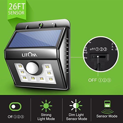 Outdoor Security Lights B Q: Litom Bright 8 LED Solar Lights Motion Sensor Light