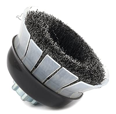 Forney 72885 Wire Cup Brush, Industrial Pro Crimped with Safety Guard 5/8-Inch-11 and M14-by-2.0 Multi Arbor, 3-Inch-by-.012-Inch