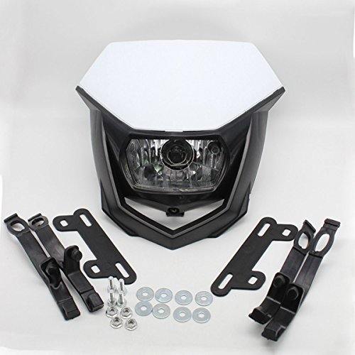 Rzmmotor Universal White 12V 35W H4 Headlight Fit Upper Fairing Cowling Kit Honda CRF Yamaha Kawasaki Suzuki Off Road Dirt Bike Enduro White Suzuki Bike