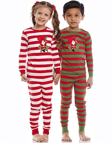 Leveret Santa Christmas 2 Piece Children Pajama 100% Cotton (Size 6M-14 Years)