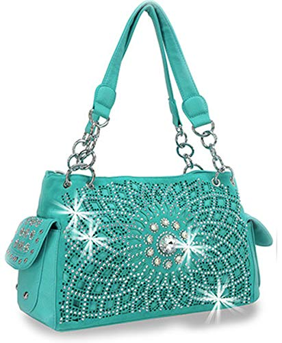 Zzfab Starburst Concealed Carry Purse Rhinestone Western Handbag Turquoise (Purse Western Rhinestone)