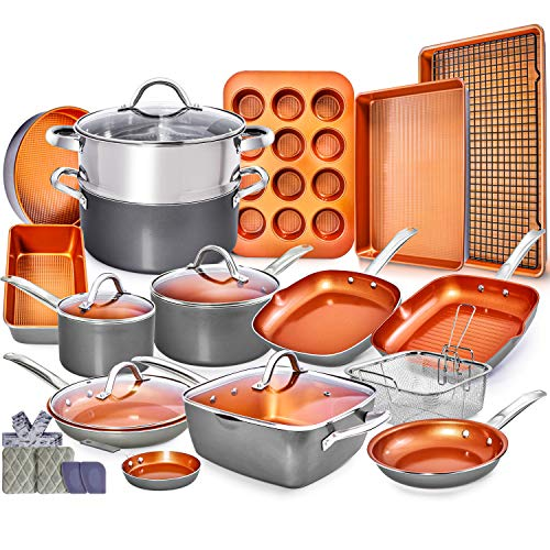 Copper Pots and Pans Set – 23pc Red Copper Cookware Set Copper Pan Set Ceramic Cookware Set Ceramic Pots and Pans Set Induction Cookware Sets Pot and Pan Set Pots and Pans Set Nonstick Cookware Set