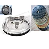 """7 Inch 180mm Convertible Dust shroud for grinder polisher and 5 Pieces 7"""" Diamond resin Polishing Pad abrasive disc for granite marble stone concrete glass floor tile travertine terrazzo"""