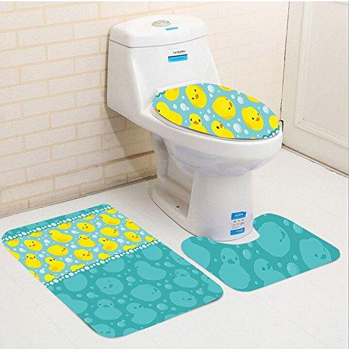 iece toilet seat pad customRubber Duck Cute Yellow Cartoon Duckies Swimming in Water Pattern with Fun Bubbles Aqua Colors Teal Yellow ()