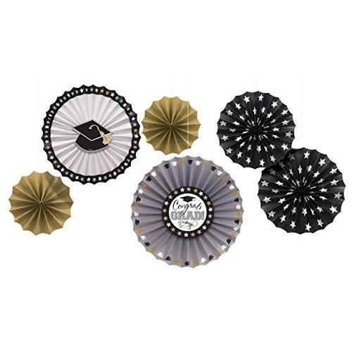 Amscan Grad Paper Fan in Black, Silver and