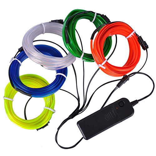 EL Wire Set, AutoEC 9 Feet 3M Sewing Edge Flexible Neon Light Glow EL Wire Rope Tape Cable Strip LED Neon Lights for Parties Cosplay Festival Decoration -