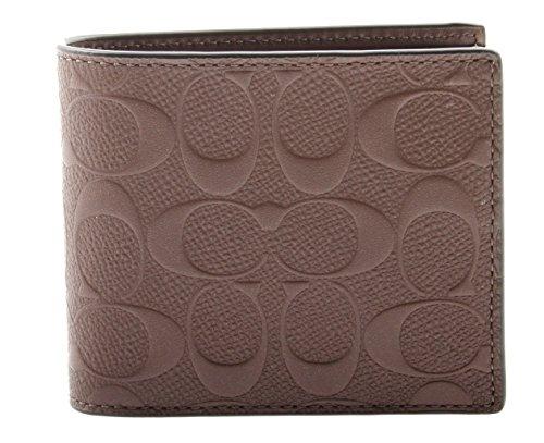 Coach Mens Compact Id Signature Crossgrain Leather Wallet, F75371 MAH,Mahogany,Small -