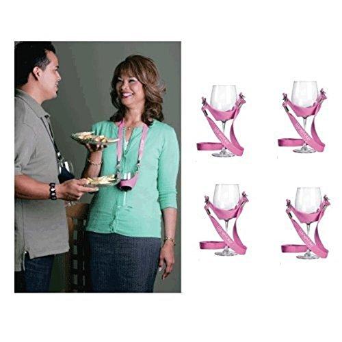 WineYoke Party Time Hand Free Wine Glass Holder Necklace - Set of 4 (Pink) by WineYoke by WineYoke (Image #4)
