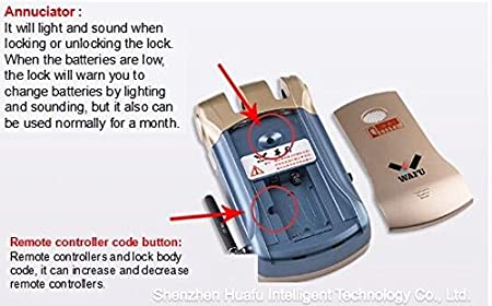 Keyless lock wafu - Cerradura seguridad sin llave con 4 mandos Oro: Amazon.es: Bricolaje y herramientas