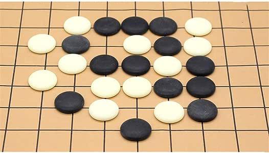 Sumferkyh-toy Colección de Juegos Juego de Mesa de Estrategia Chino Go Set con Bamboo Go Board e Incluye Bowls and Stones 2 Player Classic Diseño de Tabla Plegable portátil para niños y