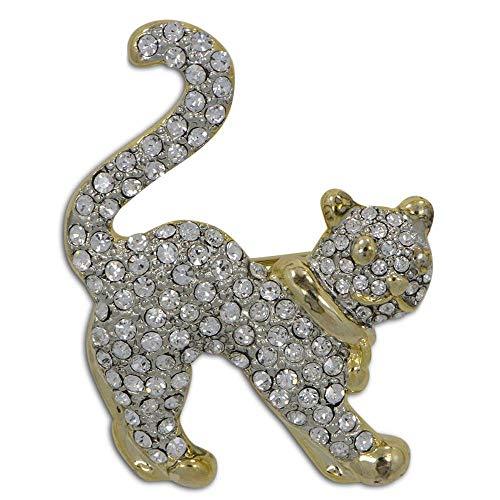 BestPysanky Cat Crystal Bejeweled Brooch Jewelry Pin -