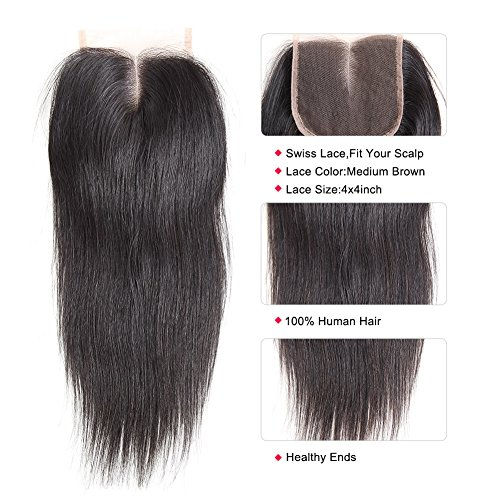 CYNOSURE Brazilian Virgin Hair Straight 3 Bundles with Closure 4x4 Middle Part Human Hair Bundles with Closure Natural Black (18 20 22+16 inch closure) by CYNOSURE (Image #6)