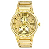 Luxury Hip Hop Iced Out Rhodium Plated Metal Band Geneva Watches WM 0936 G