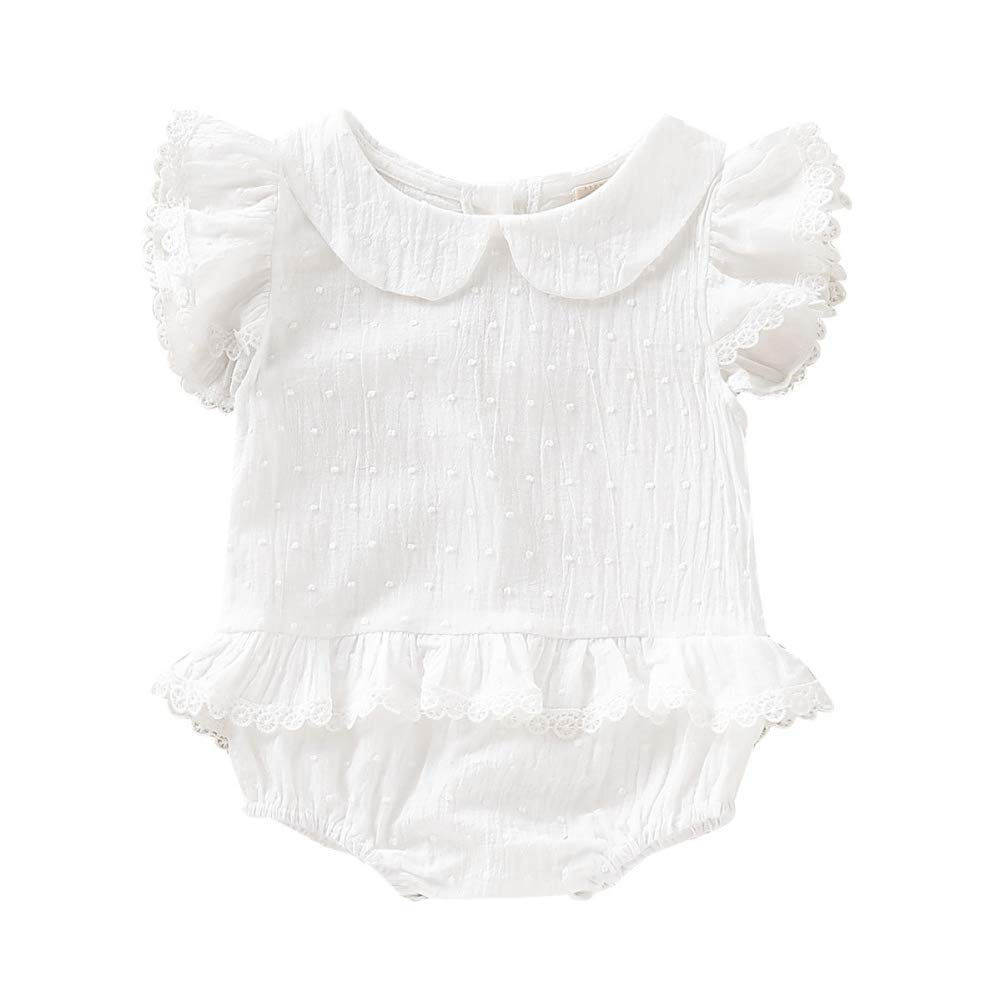 BOBORA Newborn Infant Baby Girls Frilly Sleeve Romper Cute Peter Pan Bodysuit Jumpsuit Outfits 0-18Months