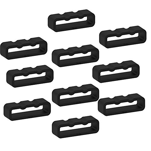 Replacement Secure Rings for Garmin Forerunner 35 Watch Bands(Pack of 10) Silicone Connector Keepers Fastener Ring Holders Loop for Garmin Forerunner 35 Smartwatch,Black