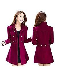 MUYAOO Women Korean Long Coat Jacket Windbreaker Winter Slim Outwear