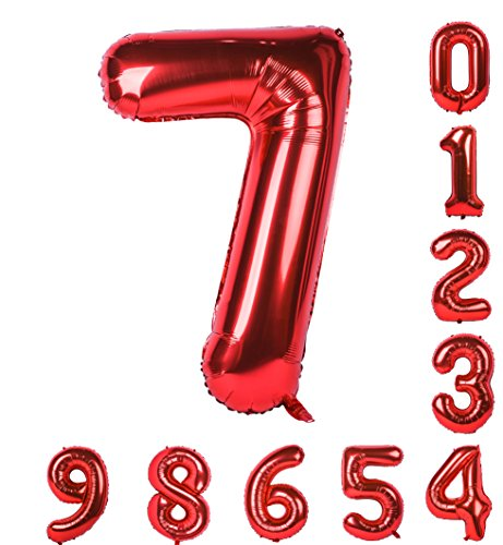 0-9(Zero-Nine) Birthday Party Balloons 40 inch Red Numbers Mylar Decorations of Arabic Numerals 7