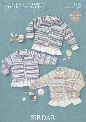 Sirdar Snuggly Baby Crofter 4ply 4619 Cardigans Knitting Pattern