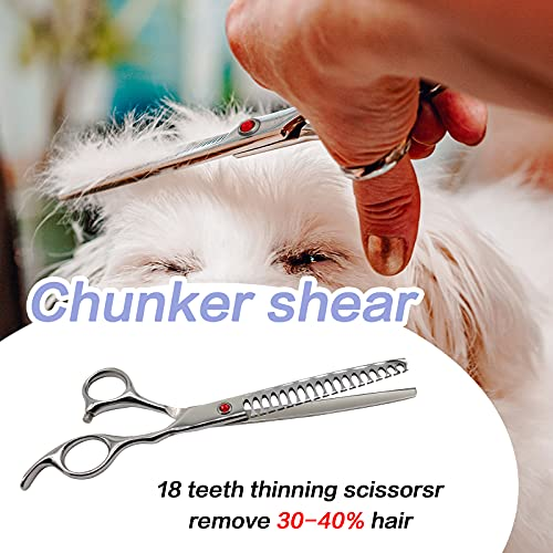 4CR Stainless Steel 7.0 inches Professional Dog Grooming Scissors Set, Durable Pet Grooming Trimmer Kit with Thinning, Straight, Curved Shear, Comb for Dogs and Cats