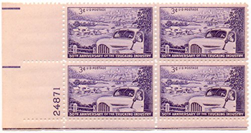 1953 3¢ US Postage Stamps Scott 1025 50th Anniversary Trucking Industry Block Of 4 - Postage Stamp Dog