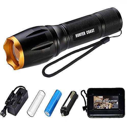 HUNTER COAST Tactical Led Flashlight Portable Bright Handheld Zoomable Torch Flashlights with 5 Modes and Rechargeable Battery