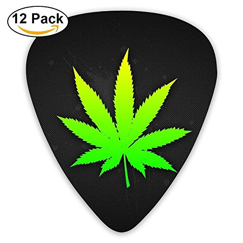 - 12-pack Fashion Classic Electric Guitar Picks Plectrums Bright Weed Background Instrument Standard Bass Guitarist