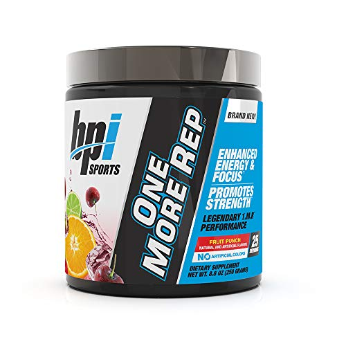 BPI Sports One More Rep Pre-Workout Powder - Increase Energy & Stamina - Intense Strength - Recover Faster - Beetroot - Carnitine - Citrulline - 0 Calorie - Fruit Punch - 25 Servings - 8.8 oz.