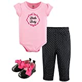 Hudson Baby Baby Girls' Shoe, Bodysuit and Pant, Little Lady, 6-9 Months