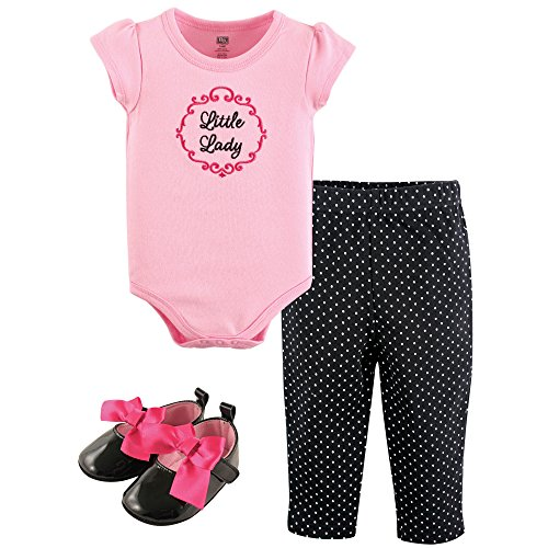 100% Cotton Bodysuit Set - Hudson Baby Baby Cotton Bodysuit, Shorts and Shoe 3 Piece Set, Little Lady, 0-3 Months