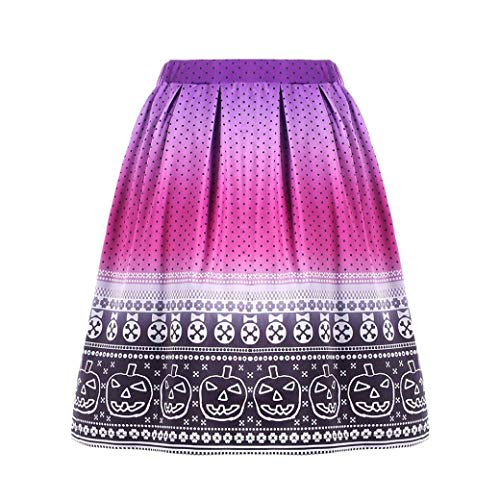 Anxinke Women's Halloween Printed Stretchy A-Line Pleated Flared Skirts (S, Hot Pink) -