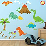 Dinosaur Fabric Wall Decal, 100% Woven Fabric Decal, UL Greenguard Certified Nursery, Kids Room Decor Great Gift