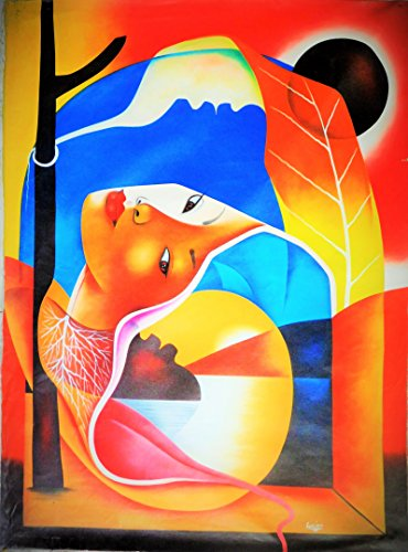 - Original Abstract Painting Acrylic on Canvas 40' x 30' - Woman Face -Haitian Art