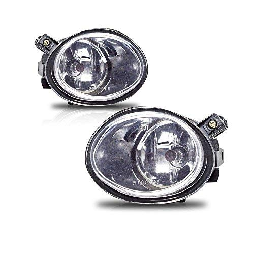 Fog Lights For BMW E46 M3 2001-2006 E39 M5 2000-2003 330I Sedan with ZHP Package 2003-2005 330CI Coupe & Convertible with ZHP Package 2004-2006 (Clear Real Glass Lens w/ 9006 12V 55W Bulbs) ()