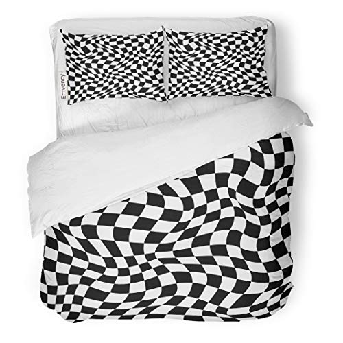 Semtomn Decor Duvet Cover Set King Size Checker Abstract Checkered for Black Board Building Car Checked 3 Piece Brushed Microfiber Fabric Print Bedding Set Cover
