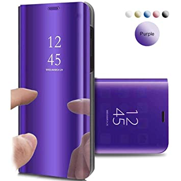 Funda Samsung Galaxy S7, Flip Tapa Libro Carcasa - Modelo TPU+PC Espejo Brillante tirón del Duro Case, Espejo Soporte Plegable en Reflectante para ...