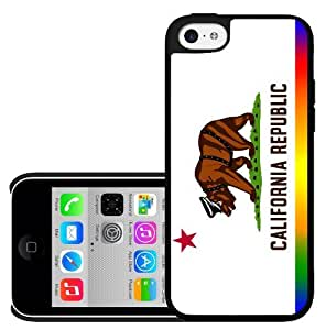California State Flag Gay Pride Rainbow with Bear Hard Snap on Cell Phone Case Cover iPhone (5c) by runtopwell