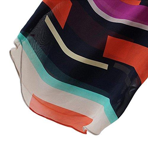 VOBAGA Mujeres Corto Mangas Del Palo Camiseta Remata Blusa Multicolor