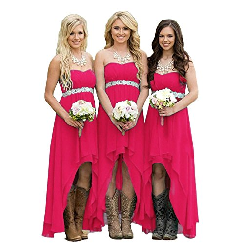 (Lemai High Low Beaded Chiffon Sweetheart Corset Empire Prom Bridesmaid Dresses Fuchsia Red US 10)