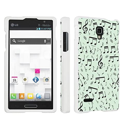 SkinGuardz Designer White Hard Case for LG Optimus L9 P769 - Music Note Mint Green (Lg L9 Music Case)