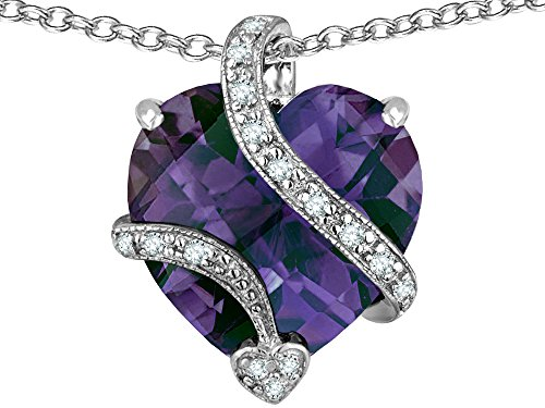 Star K Large 15mm Heart Shape Simulated Alexandrite Love Pendant Necklace Sterling Silver