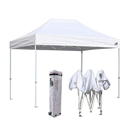 Eurmax 8 x 12 Ez Pop Up Canopy Party Tent Commercial Outdoor Instant Canopies Bonus Deluxe Wheeled Storage Bag White