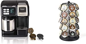 Hamilton Beach FlexBrew Thermal Coffee Maker, Single Serve & Full Pot, Compatible with K-Cup Pods or Grounds, Programmable, Black and Stainless (49966) & K-Cup Carousel - Holds 35 K-Cups in Black