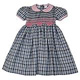 Baby Girl Gray & Black Plaid Dress - w/ Pink Hand Smocked Design 12M (Newborn)