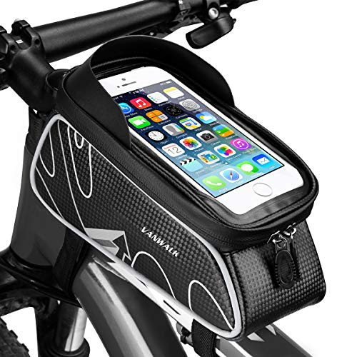 VANWALK Bike Front Storage Bag Cycling Top Tube Phone Bag Frame Handlebar Tool Bicycle Bag Zipper Waterproof Touch Screen Cellphone Mount Below 6.0