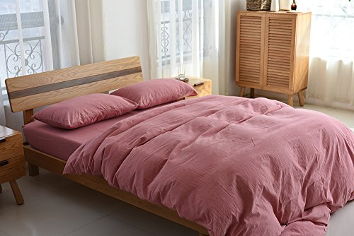 Deep Sleep Home 100% Washed Cotton, Solid Color 3pc Duvet Cover Set, Zipper Close,Machine Washable, Inside Corner Ties (Full, Rose) (Pink Duvet Cover Rose)